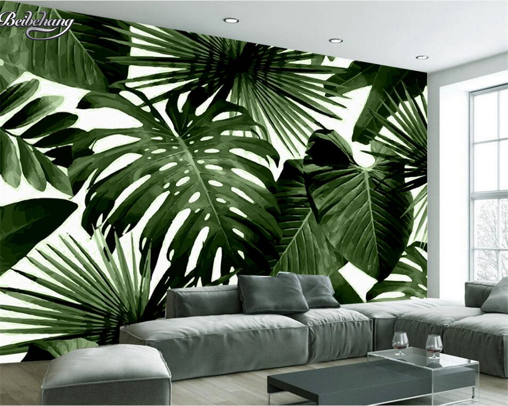 Beibehang moderne personnalisé 3D papier peint tropical pluie forêt palmier feuille de banane 3D salon fond mur peintures murales papier peint