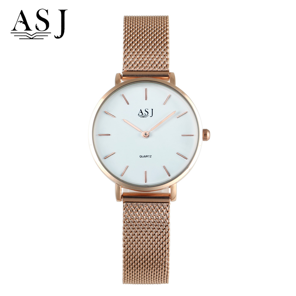 Women Watch ASJ Ultra Thin Rose Gold Mesh Steel Luxury Bracelet Fashion Top Brand Lady Simple Quartz Watch Relogio Feminino fashion brand v6 quartz women watches rose gold steel thin case classic simple dial leather strap ladies watch relogio feminino