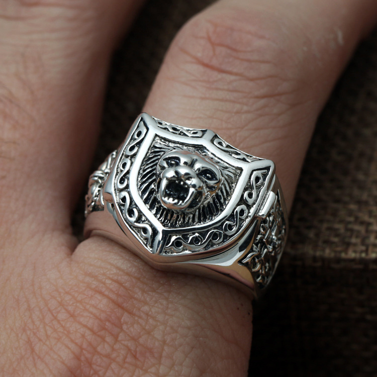 Fashion 925 Sterling Silver Retro Openable Male Lion King Cross Shield Ring Men Thai Silver Gift Animal Finger Ring ZY245