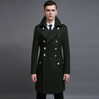 Men Double Breasted Military Army Wool Coat Winter Fashion Plus Size Thick Casamere Work Business Solid Slim Pea Coat Casaco