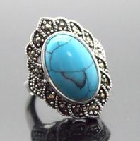 17X30mm Blue Turquoises Oval Gem 925 Sterling Silver Marcasite Ring Size 7 8 9 10 Free