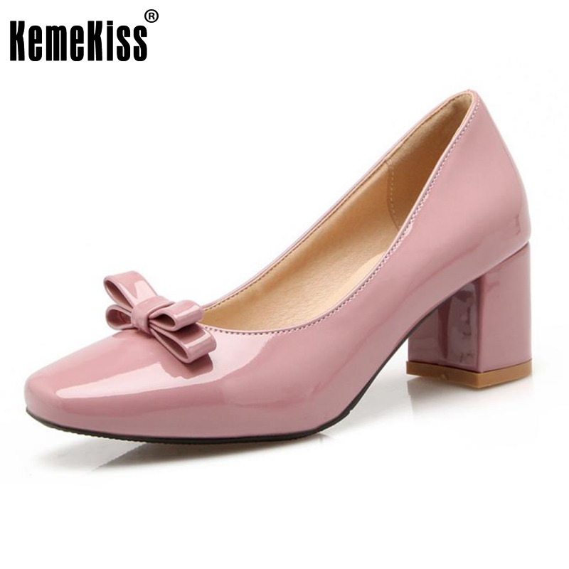 KemeKiss Size 33-43 Office Lady High Heel Shoes Women Square Toe Bowtie Thick Heel Pumps Party Daily Work Dating Female Footwear 2014 new fashion square heel shoes shallow mouth bowtie shoes dating casual pumps hot sale eur size 34 43
