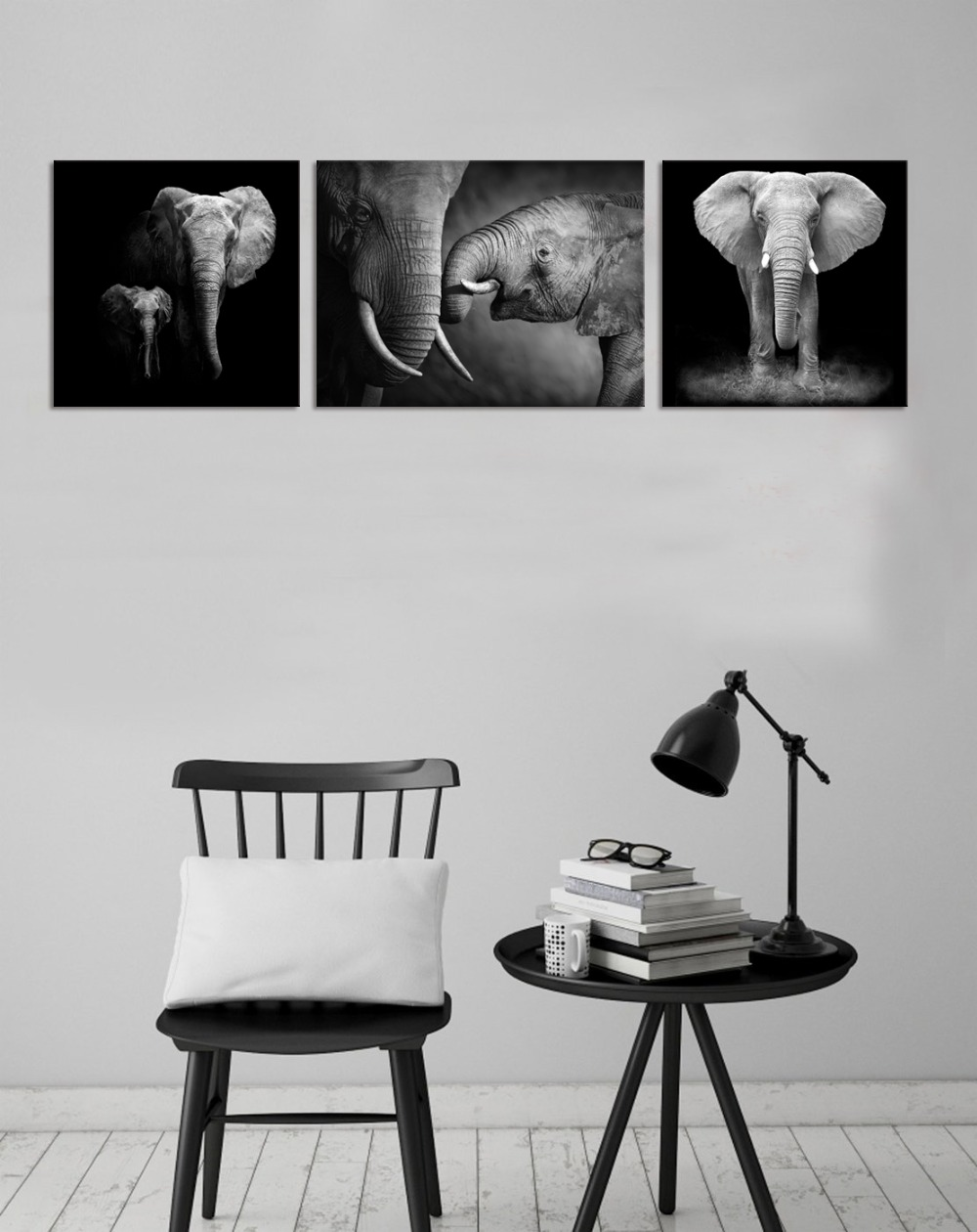 Us 17 08 5 offblack and white canvas wall art decor animal canvas prints elephant family poster canvas artwork for living room in painting
