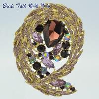 Women Jewelry Vintage Brooches Rhinestone Crystals Purple Flower Brooch Broach Pins 3.5