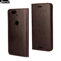 Deluxe Wallet Case For Huawei Nexus 6P Genuine Cow Leather Case Nexus 6P Magnetic Flip Cover
