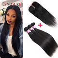 Brazilian Virgin Hair With Closure Brazilian Hair Weave 3Bundles With Lace Closure Brazilian Virgin Straight Hair With Closure