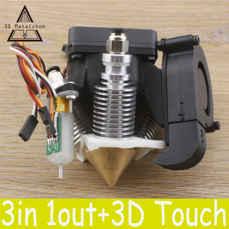 Diamond 3D Printer Extruder Hotend V6 heatsink 3 IN 1 Brass Multi Color Nozzle for 1.75/0.4mm Reprap full kit +3D Touch BLtouch 3d v6 short distance heatsink brass color nozzle 3 in 1 out 0 4mm for 1 75mm multi nozzle for 3d printer