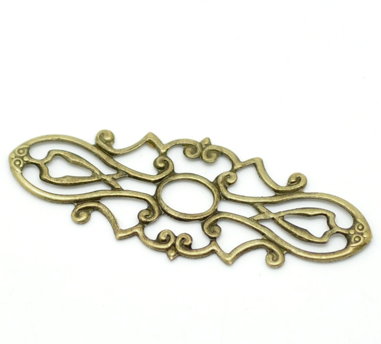 Alloy Embellishments Findings Oval Antique Bronze Flower Hollow Pattern 3.8cm(1 4/8