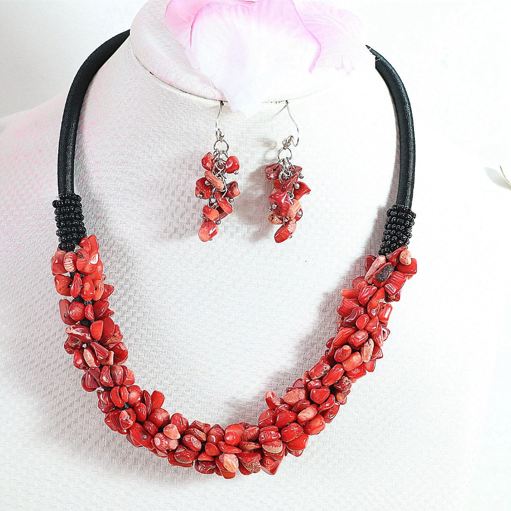 natural red coral 9x11mm irregular gravel chips beads necklace earings high grade women gifts jewelry set 18inch B520