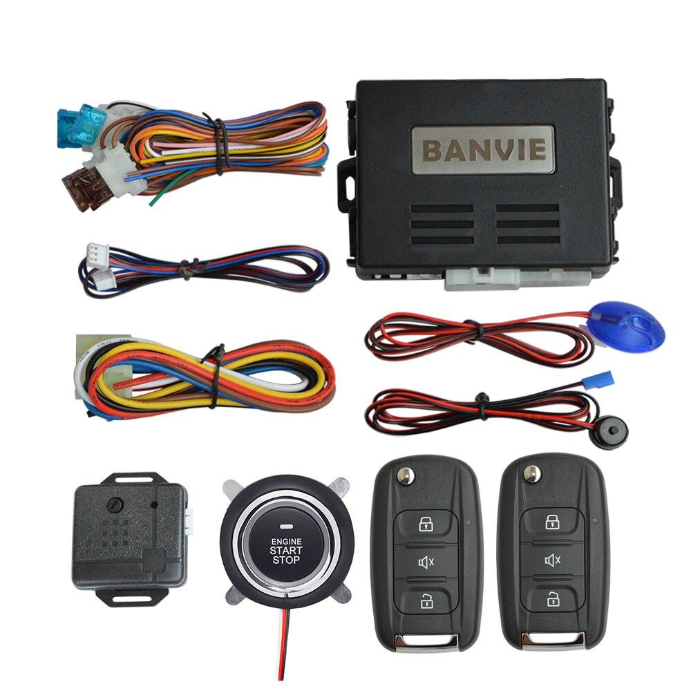 Système d'alarme de sécurité de voiture BANVIE 1 voie avec démarrage du moteur à distance et bouton d'arrêt de démarrage