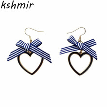 Cloth art bowknot peach girl love shape exquisite No ear pierced earrings sweet female temperament