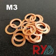 Flat Washer Sealing-Ring Thin-Sheet M3-Seal-Gasket Inner-Diameter Red 3mm T3