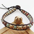 (Min. Order $10) Free Shipping 1Strand 6mm Snake Skin Jasper Round Beads Wrap Leather Adjustable Bracelet 7.5 inch SHX1364