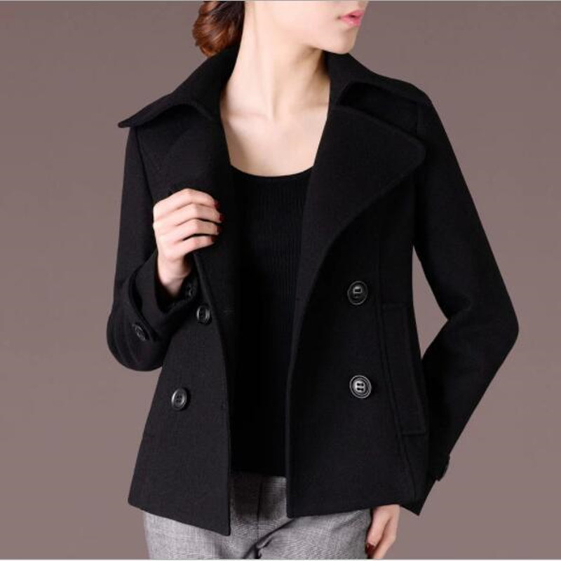 JQNZHNL Autumn Winter New Woolen Jacket 2019 Women temperament Slim Double breasted Coat Fashion Short Large
