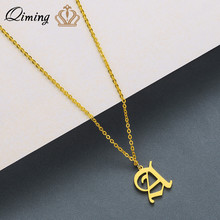 QIMING A Initial Necklace For Women Men Jewelry Stainless Steel Gold 26 Letter Alphabet Pendant Necklace Girls Baby Gift stainless steel initial necklace rose gold alphabet disc pendant necklace initial jewelry for women girls