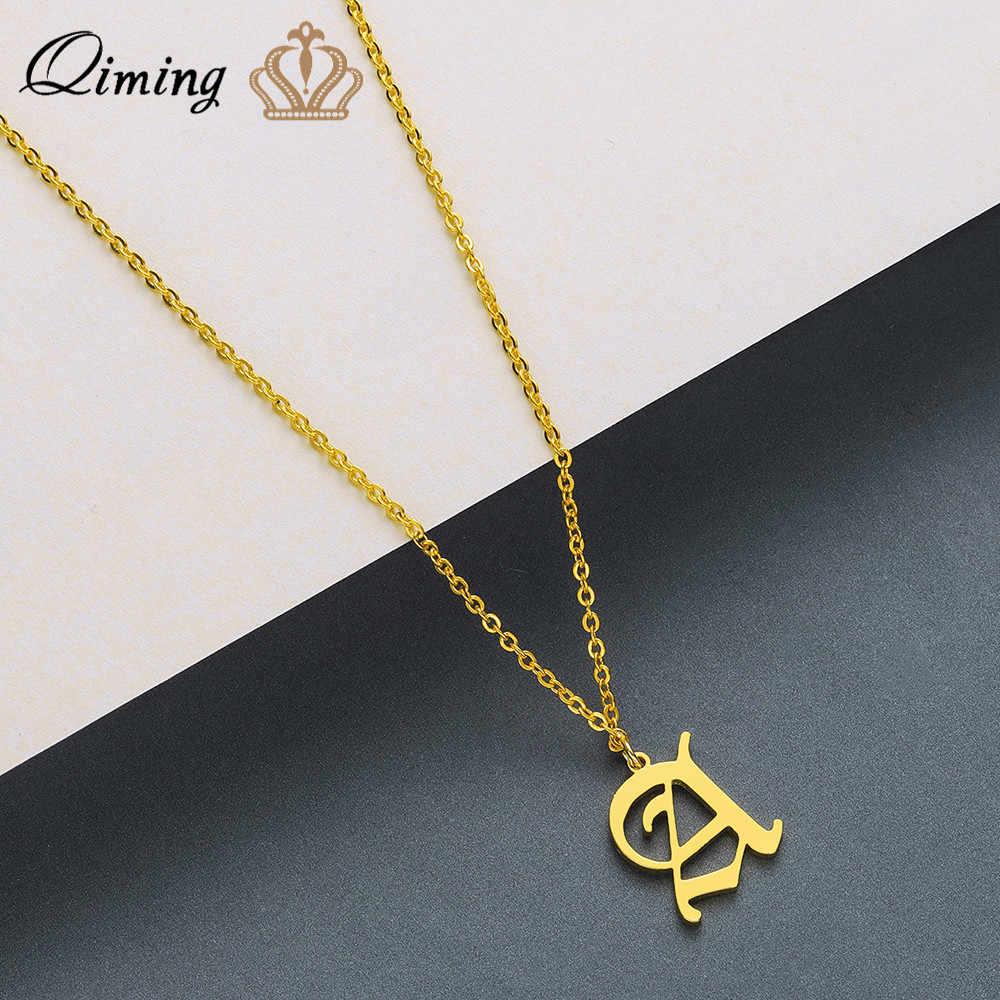 QIMING w początkowy naszyjnik dla kobiety mężczyźni biżuteria ze stali nierdzewnej złoty 26 list naszyjnik z wisiorkami w kształcie liter dziewczyny prezent dla dzieci