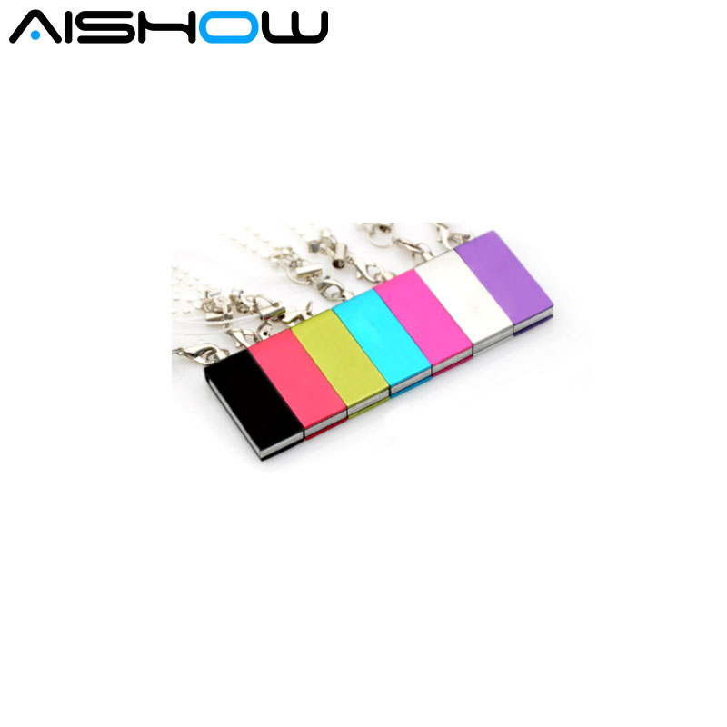 Mini metal USB Disk 8GB 16gb usb2.0 rotation USB Flash Drive portable type Memory stick with chain waterproof shakeproof 8colors