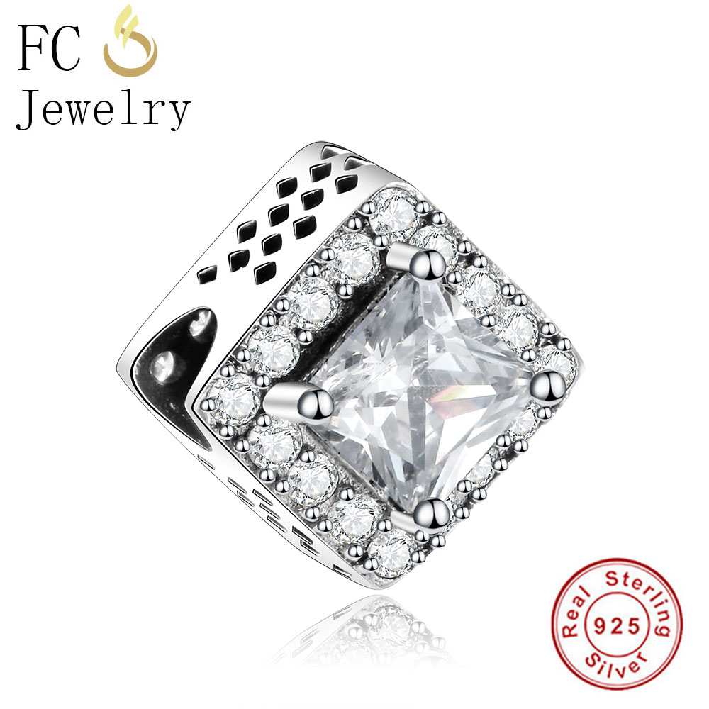 FC Jewelry 925 Sterling Silver European Square White Zircon Beads Fit Original Pandora Charms Bracelet Women diy Berloque Gifts