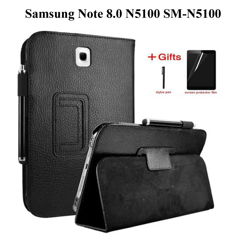Litchi PU Leather Case For Samsung Galaxy Note 8.0 GT-N5100 N5110 Smart Cover For Samsung Note 8.0 N5110 Tablet Case+film+pen