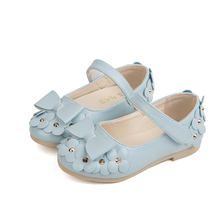 Rose pink light blue Little Baby Girls shoes princess Shoes flowers bows Rhinestone Kids 1T 2T 3T 4T 5T 6T 7T-14T
