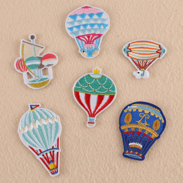 Three Striped Hot Air Balloons Iron on Applique//Embroidered Patch