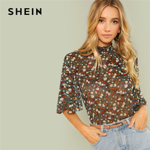 SHEIN Multicolor Weekend Casual Button Keyhole Back Frill Neck Stand Collar Half Sleeve Bl