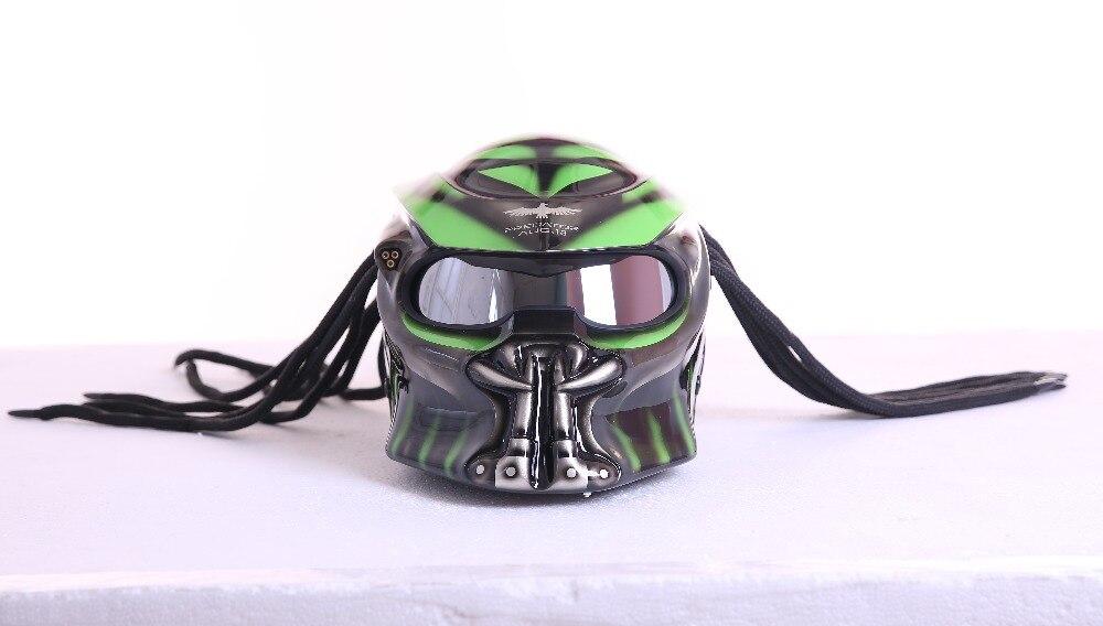 Cinza/Matte Cinza neca Predators máscara de fibra de vidro Verde moto cara Cheia capacete homem de ferro moto rcycle DOT M L XL