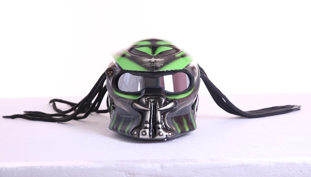Grey Matte Grey Green Predators mask fiberglass neca motorcycle font b helmet b font Full face