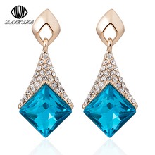 Фотография Europe and America 2015 New Beautiful Fashion Colors Geometric Square Crystal Earrings Elegant Stud Earrings For Women