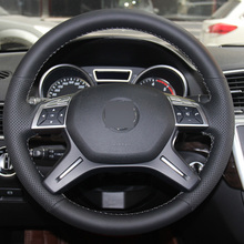 Black Leather Hand-stitched Steering Wheel Cover for Mercedes Benz GL350 ML350