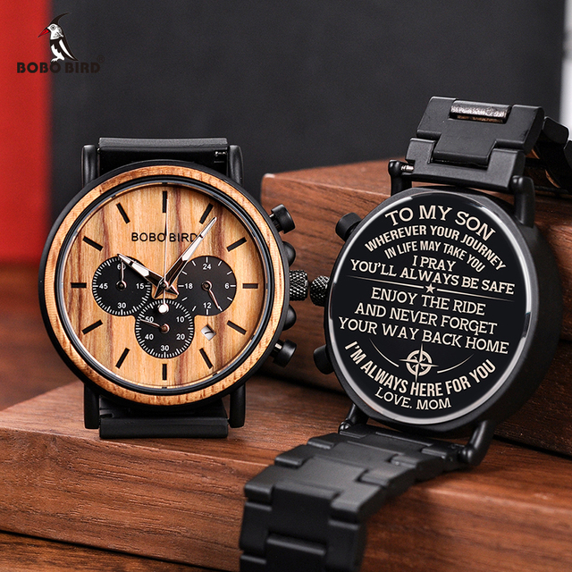 Free Engraving BOBO BIRD Personalized Men Watch Top Wooden Timepieces Custom Watches Best Gift for Man Dad Husband Boyfriend