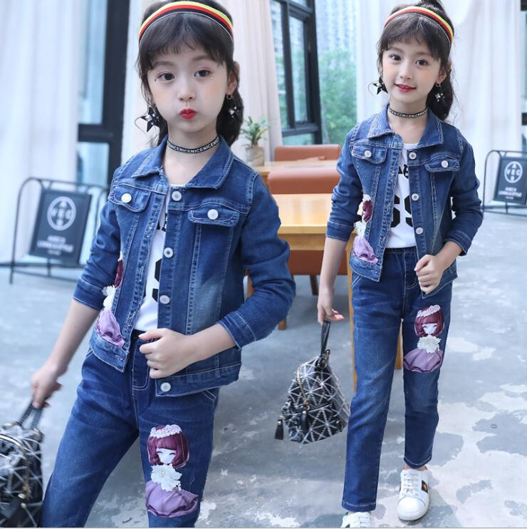 Cartoon patch children baby girl three-pieces sets girls fashion cowboy jeans kids girls suits Kids Clothing Sets 4-13years glasgow k girl in pieces