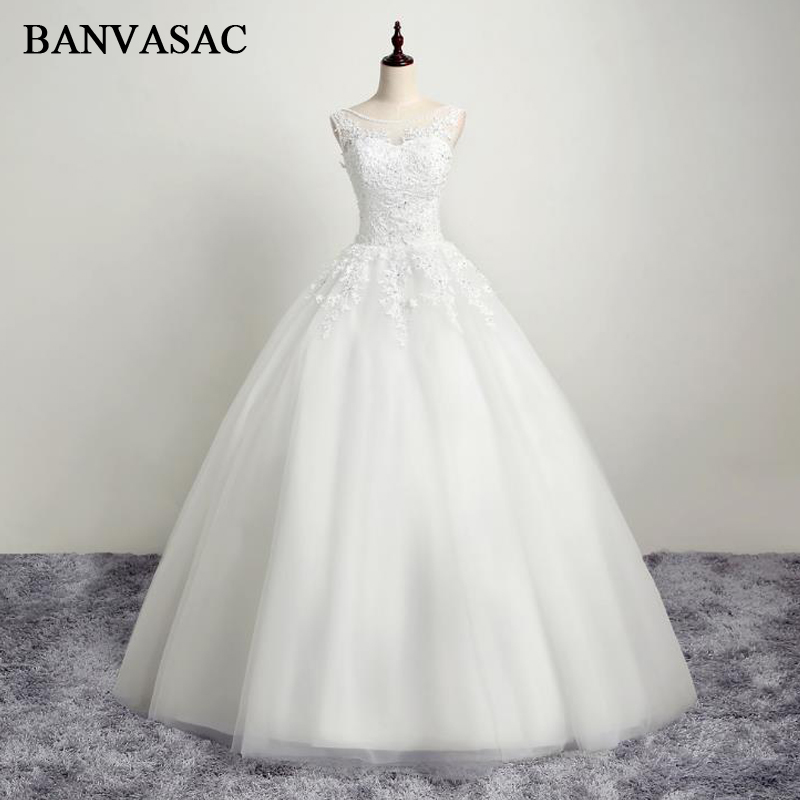 BANVASAC 2017 Nya Eleganta Broderi O Hals Bröllopsklänningar Ärmlös Satin Kristaller Blond Brudklänning
