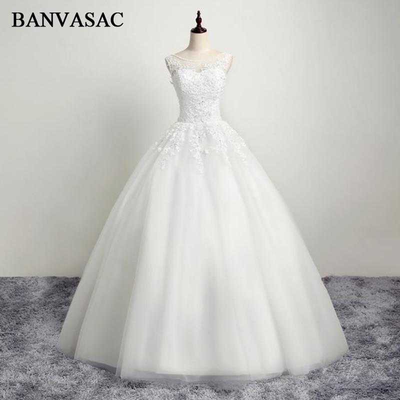 BANVASAC 2017 Νέα Κομψή Κέντημα O Φορέματα Νυφικά Αμάνικα Κρύσταλλα Σατέν Κρύσταλλα Νυφικά Νυφικά
