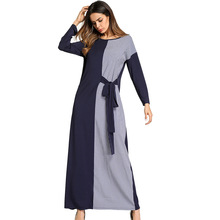 5700# Middle East Europe - Muslim dress color lace stitching Plaid Dress