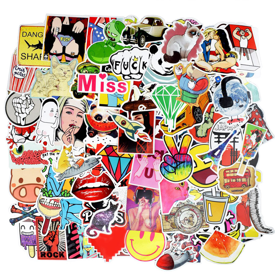 500pcs Random Hot Sale Stickers Kid's Toy Cartoon Funny Sticker For Skateboard Laptop Suitcase Moto Bicycle Bedroom DIY Stickers