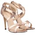 Das mulheres crocodile pattern couro cinta fivela no tornozelo glitter vestido de saltos altos finos sandálias sapatos smynlk-c0042