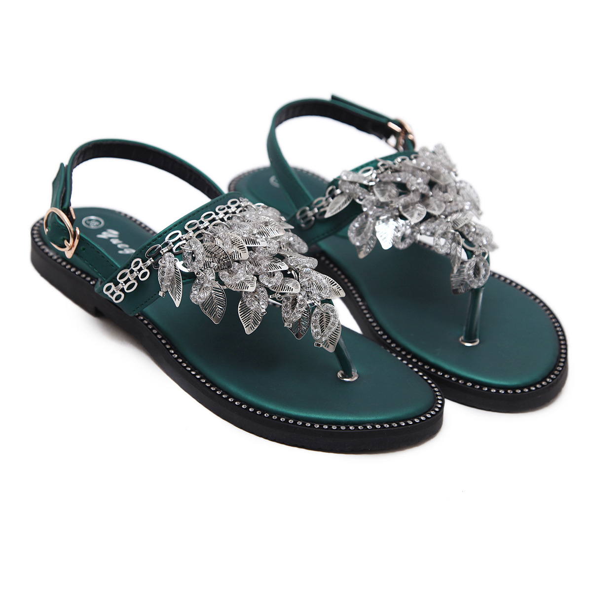 f8fb4d949d7fa Women Bohemian Ethnic Crystal Rhinestone Flat Sandals Roman Gladiator Flip  Flops Petal Flower Shoes Girl Wedding