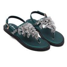 bf3eb5adcfc9 Women Bohemian Ethnic Crystal Rhinestone Flat Sandals Roman Gladiator Flip  Flops Petal Flower Shoes Girl Wedding