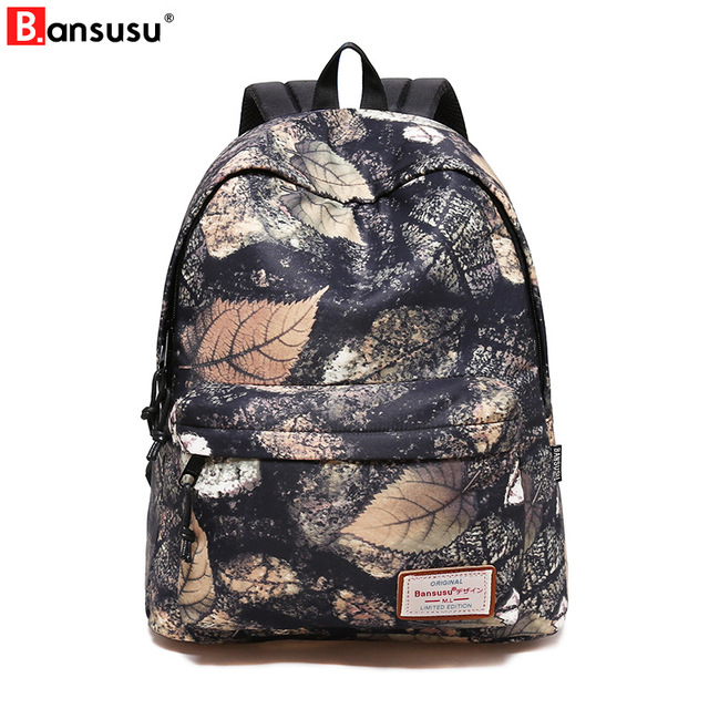 Leaf Printing Women Backpacks Korean Style School Backpack for Teenager  Girl Casual Travel Daily Bags Large 9edbf47afc813