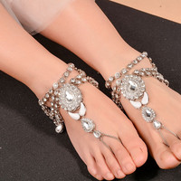 1 Pc New Bohemian Vintage Anklet For Women Tassel Gem Foot Jewelry Barefoot Sandal Crystal Multilayer