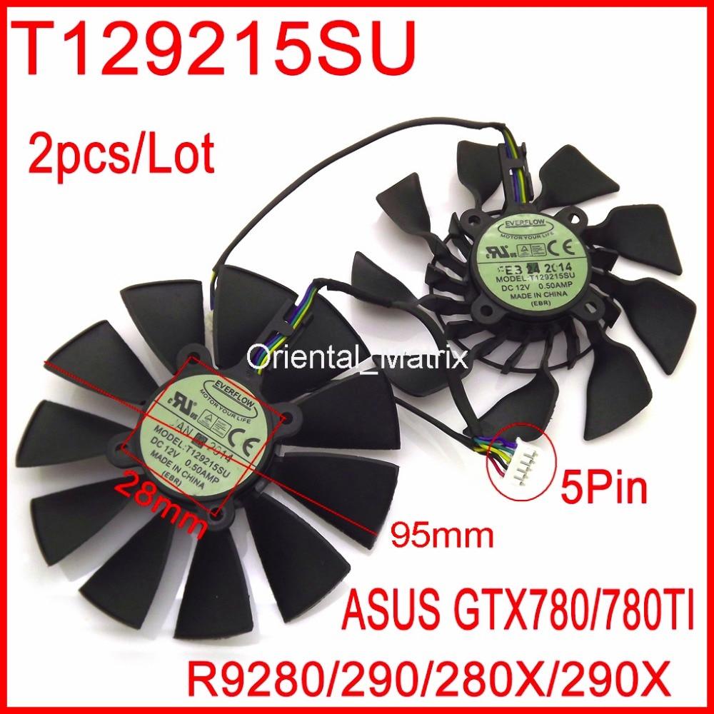 Бесплатная доставка T129215SU 12 В 0.5A 94 мм для ASUS GTX780 GTX780TI R9 280 290 280X 290X Вентилятор охлаждения видеокарты