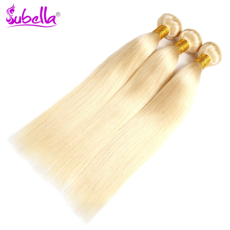 Subella Hair 613 Blond Hair Peruvian Hair Weave 3 Bundles Straight Non Remy 100% Human Hair Bundles 10-24inch Free Shipping