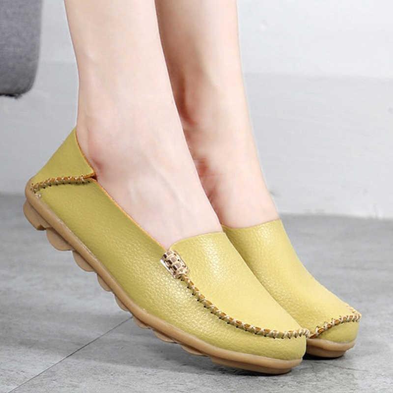 Chất Lượng cao Căn Hộ Phụ Nữ Chính Hãng Căn Hộ Da Giày Handmade Thoải Mái Đế Giải Trí của Phụ Nữ Giày Slipony