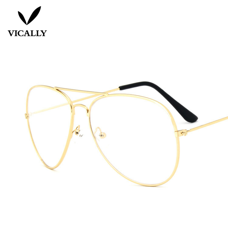 1fa92369eaa66 Fashion Aviator Classic Eyeglasses Metal Spectacle Glasses Frame Clear Lens  Women Men Optical Glasses Frame Oculos Gafas-in Eyewear Frames from Apparel  ...