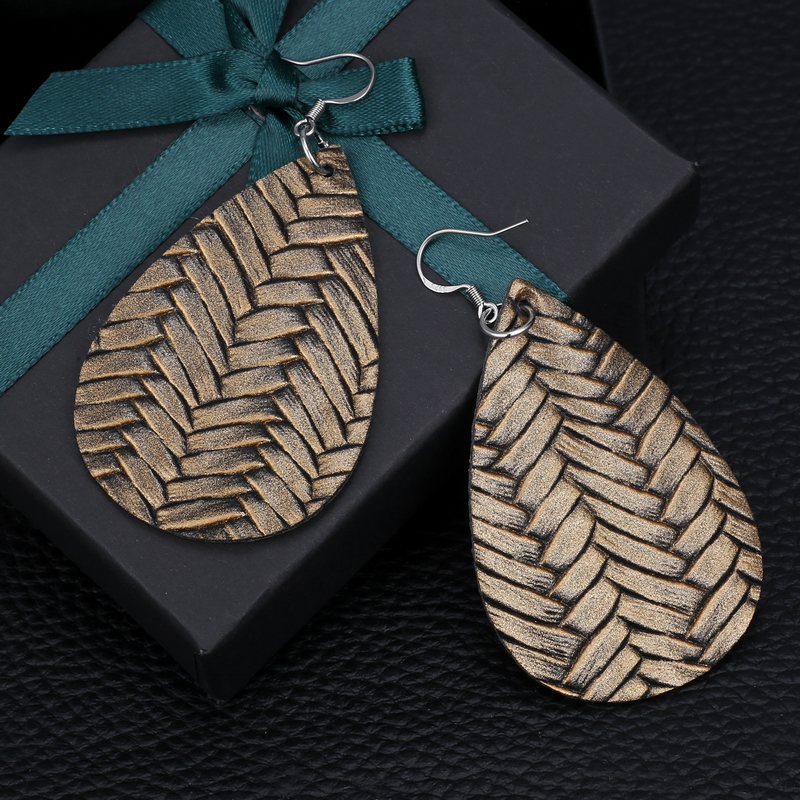 New Teardrop Leather Earrings Petal Drop Earrings Antique Lightweight S925 Carved Stainless Steel Earrings For Women Gifts 46