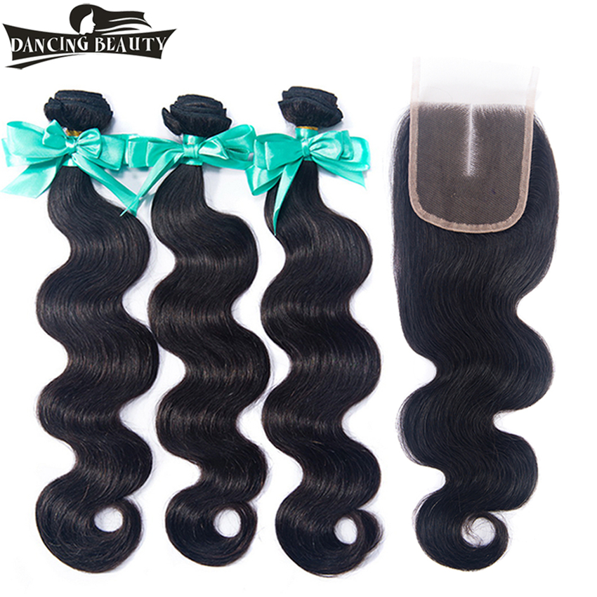 DANCING BEAUTY Body Wave Human Hair Bundles With Closure Brazilian Hair Weave 3 Bundles with Closure Non Remy Hair weft