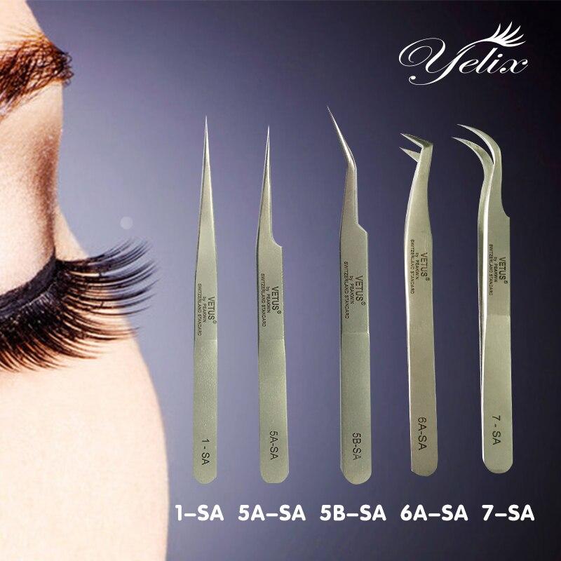 Makeup Profissional Tweezers 3d Eyelashes Lashes Tools Vetus Tweezer For Eyelash Extension Curved Straight Stainless Pincet