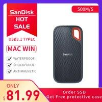 SanDisk SSD 250GB 500GB 1 ТБ 2 ТБ USB 3,1 type C внешний твердотельный диск 500 м/с внешний жесткий диск для ноутбука Настольный Mac система