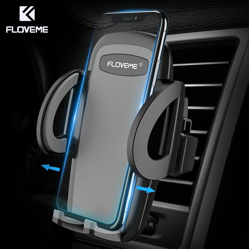 Floveme un clic liberación titular del teléfono del coche universal del montaje del respiradero del aire soporte móvil soportes para iPhone xiaomi samsung